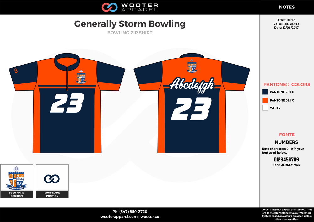 Generally Storm Bowling orange navy blue white bowling uniforms, shirts, quarter zip polo