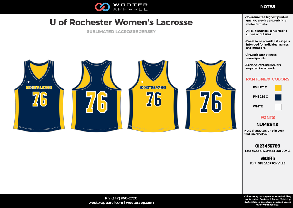 U of Rochester Women's Lacrosse yellow navy blue white Lacrosse uniforms reversible pinnies jerseys
