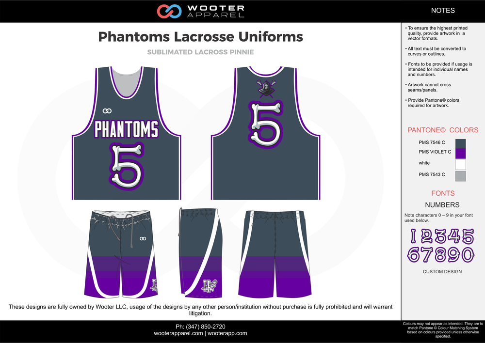 PHANTOMS LACROSSE UNIFORMS gray purple white Lacrosse uniforms pinnies jerseys shorts