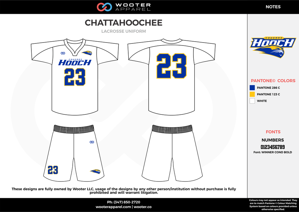 CHATTAHOOCHEE white blue yellow Lacrosse uniforms jerseys shirts shorts