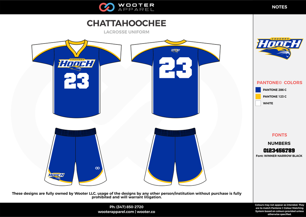 CHATTAHOOCHEE blue white yellow Lacrosse uniforms jerseys shirts shorts