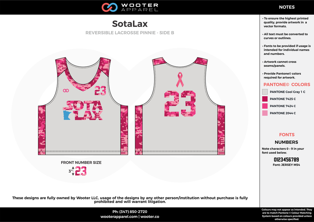 SotaLax baby pink, fuschia pink, gray, Lacrosse uniforms pinnies jerseys