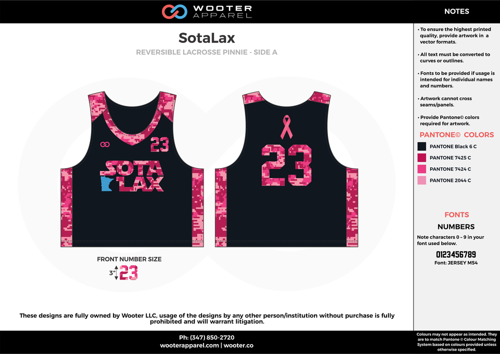 SotaLax pink black Lacrosse uniforms reversible pinnies jerseys
