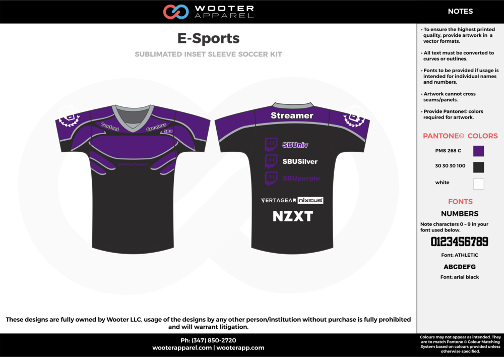 E-Sports purple black white e-sports jerseys, shirts, uniforms