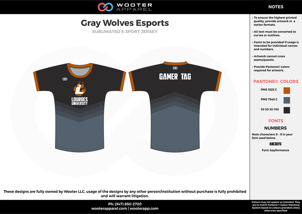 Gray Wolves Esports black gray orange e-sports jerseys, shirts, uniforms