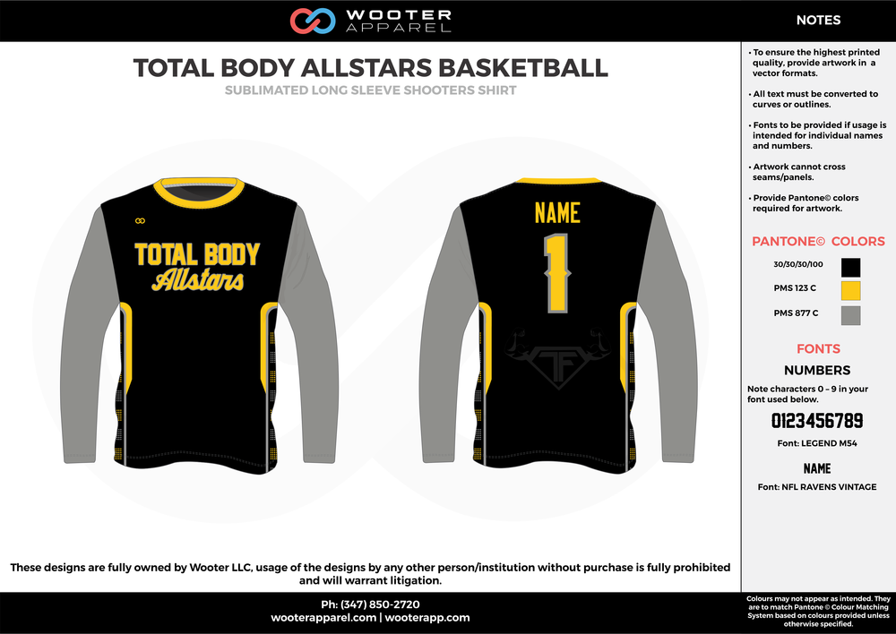 TOTAL BODY ALLSTARS BASKETBALL  black gray yellow Basketball Long Sleeve Shooting Shirt