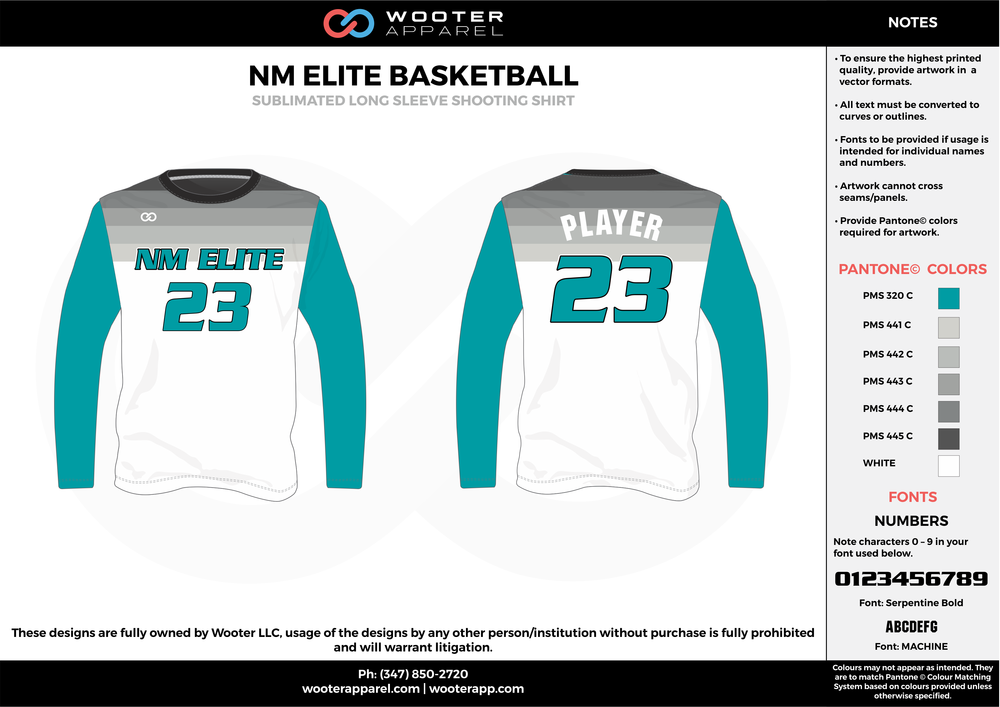 NM ELITE BASKETBALL water blue gray white Basketball Long Sleeve Shooting Shirt