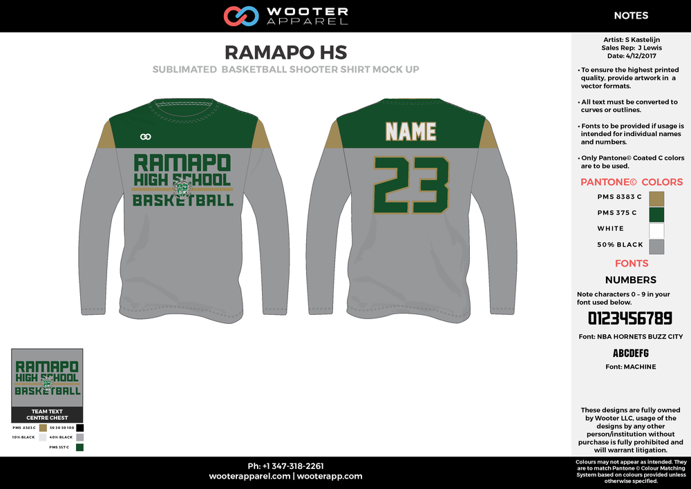 RAMAPO HS gray green gold white Basketball Long Sleeve Shooting Shirt