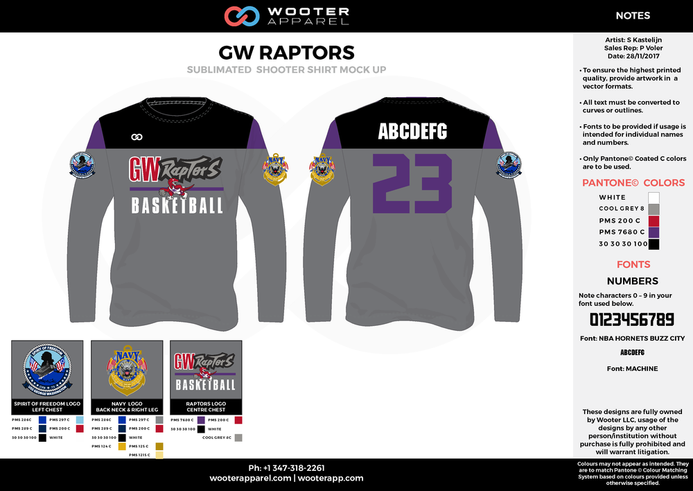 GW RAPTORS gray red purple black Basketball Long Sleeve Shooting Shirt
