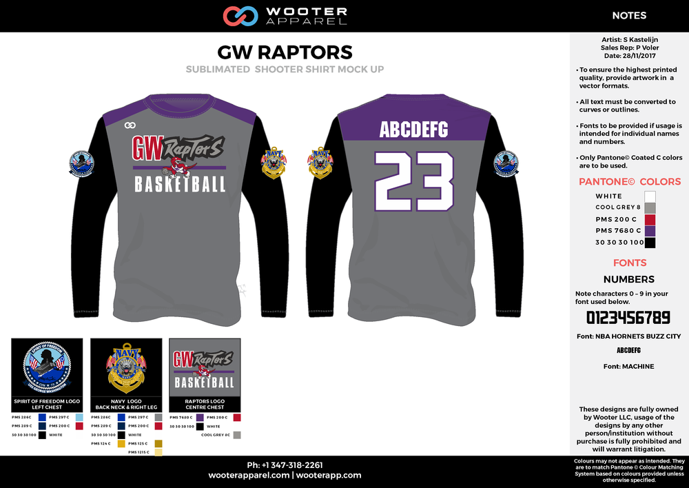 GW RAPTORS black purple red gray Basketball Long Sleeve Shooting Shirt