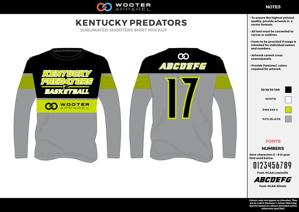 KENTUCKY PREDATORS gray black yellow white Basketball Long Sleeve Shooting Shirt