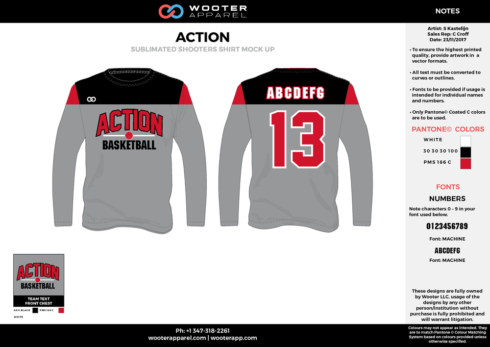 ACTION red gray black white Basketball Long Sleeve Shooting Shirt