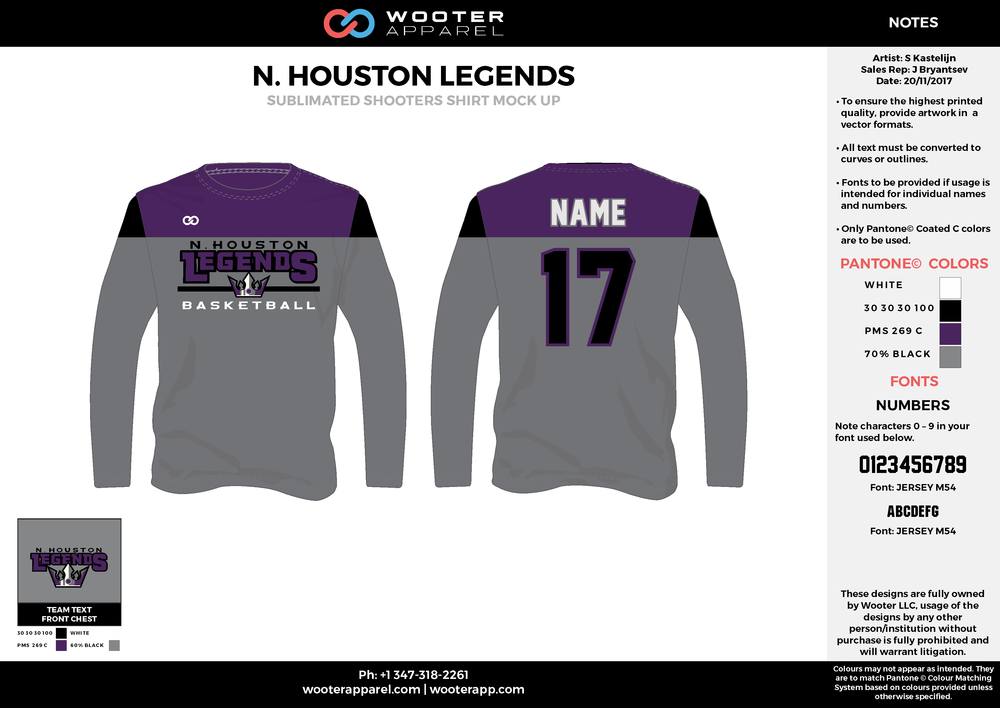 N. HOUSTON LEGENDS gray black purple Basketball Long Sleeve Shooting Shirt
