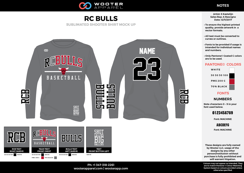 RC BULLS gray red black Basketball Long Sleeve Shooting Shirt