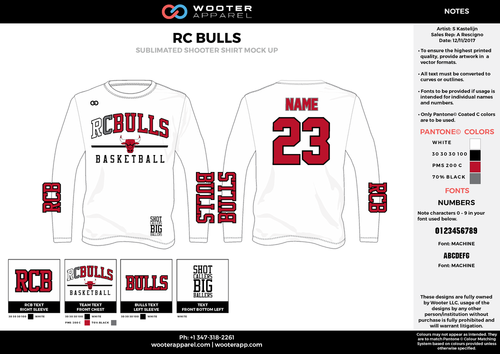 RC BULLS white red gray black Basketball Long Sleeve Shooting Shirt