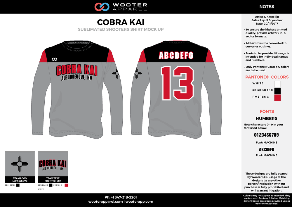 COBRA KAI  black red white gray Basketball Long Sleeve Shooting Shirt