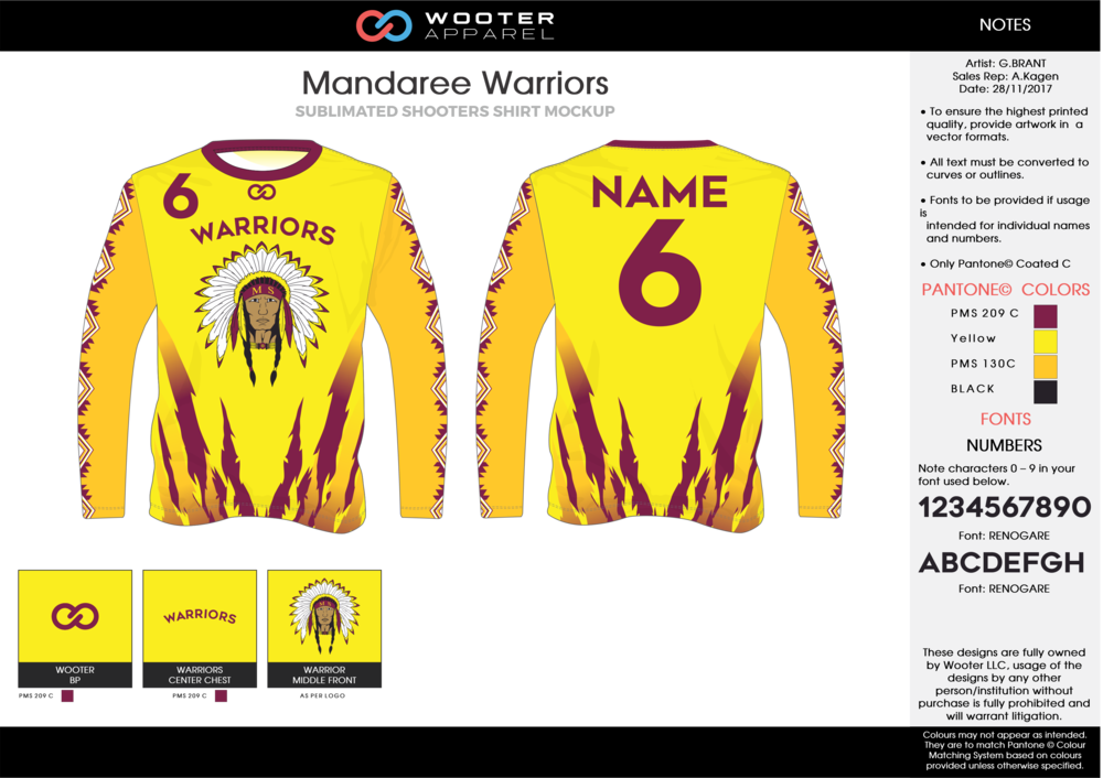 MANDAREE WARRIORS yellow red black Basketball Long Sleeve Shooting Shirt
