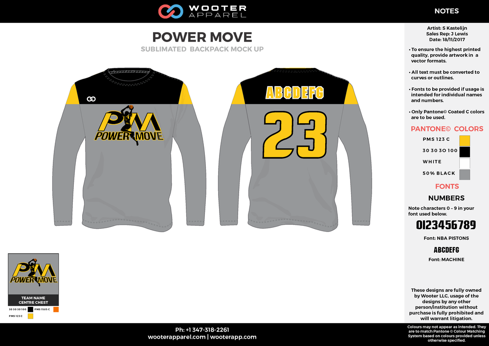POWER MOVE gray yellow white black Basketball Long Sleeve Shooting Shirt