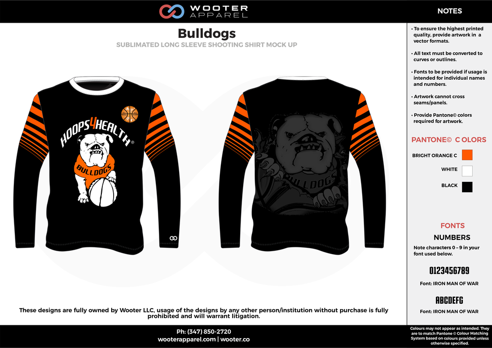 BULLDOGS orange black white Basketball Long Sleeve Shooting Shirt
