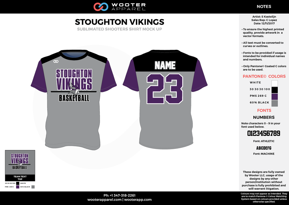 STOUGHTON VIKINGS gray black purple Basketball Short Sleeve Shooting Shirt