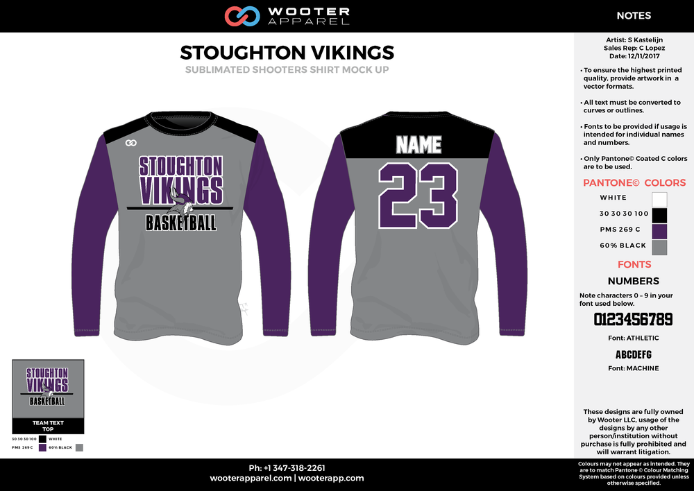STOUGHTON VIKINGS purple black gray Basketball Long Sleeve Shooting Shirt
