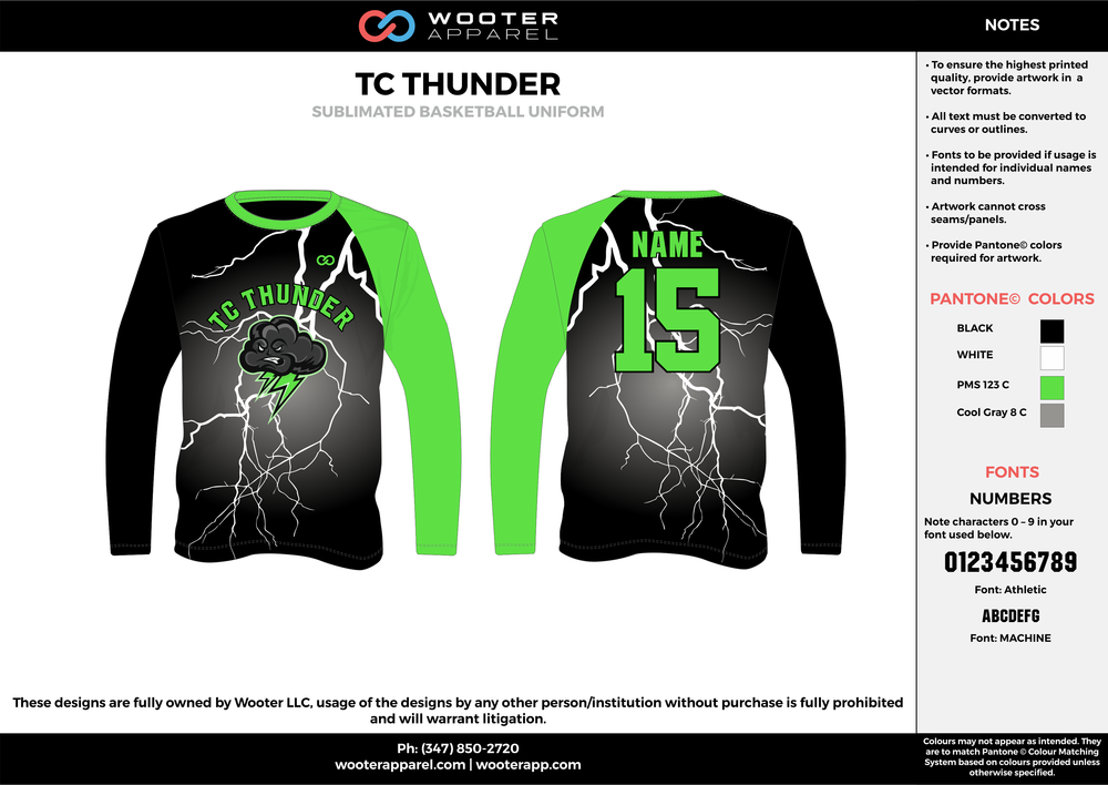 TC THUNDER black white green gray Basketball Long Sleeve Shooting Shirt