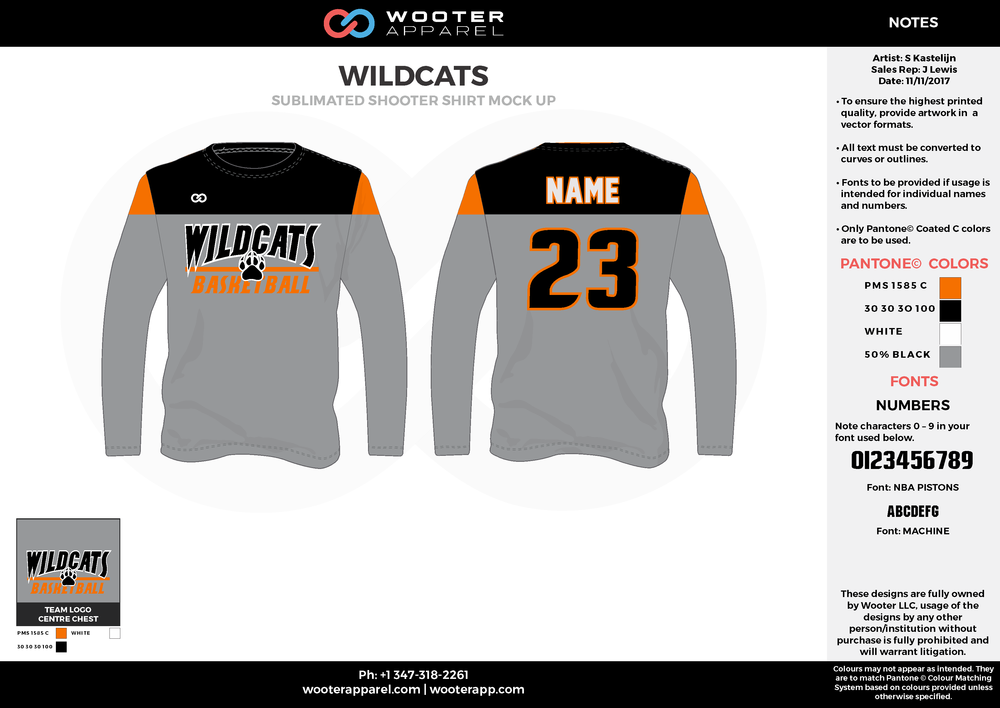 WILDCATS gray orange black white Basketball Long Sleeve Shooting Shirt