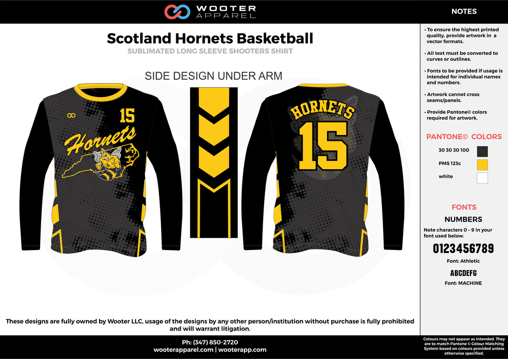 ad5a3e0f081 SCOTLAND HORNETS BASKETBALL black yellow white Basketball Long Sleeve  Shooting Shirt