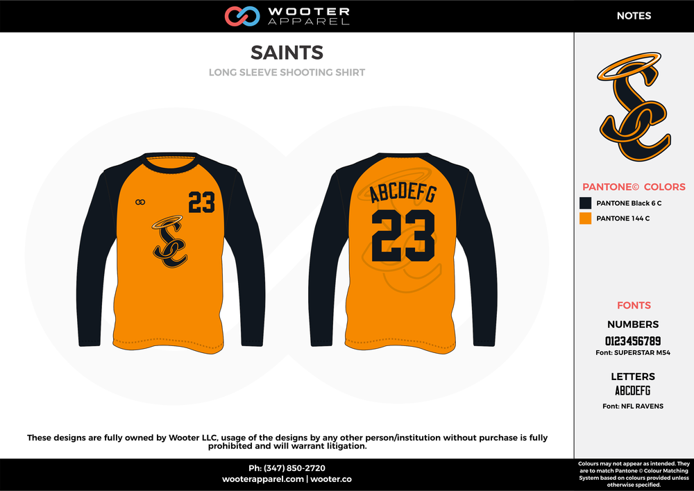 SAINTS black orange Basketball Long Sleeve Shooting Shirt
