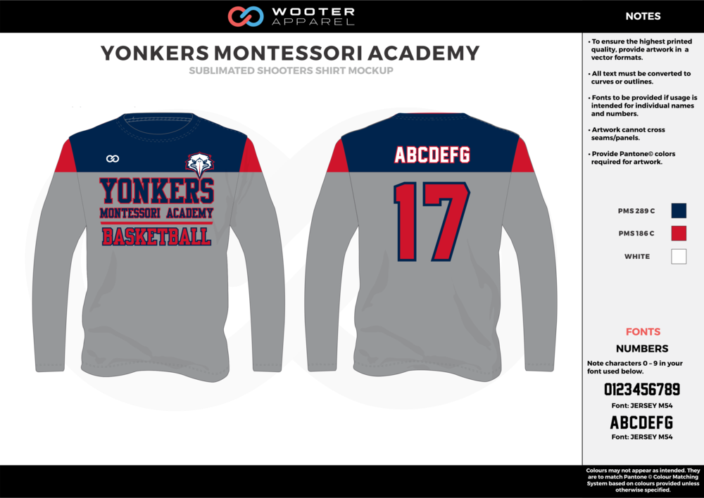 YONKERS MONTESSORI ACADEMY blue gray red white Basketball Long Sleeve Shooting Shirt