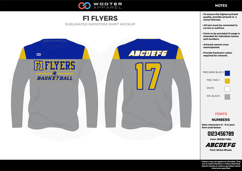 F1 FLYERS gray blue yellow white Basketball Long Sleeve Shooting Shirt