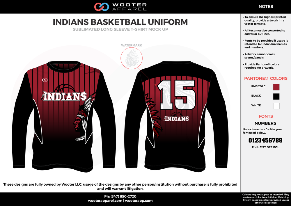 INDIANS BASKETBALL UNIFORM red black white Basketball Long Sleeve Shooting Shirt
