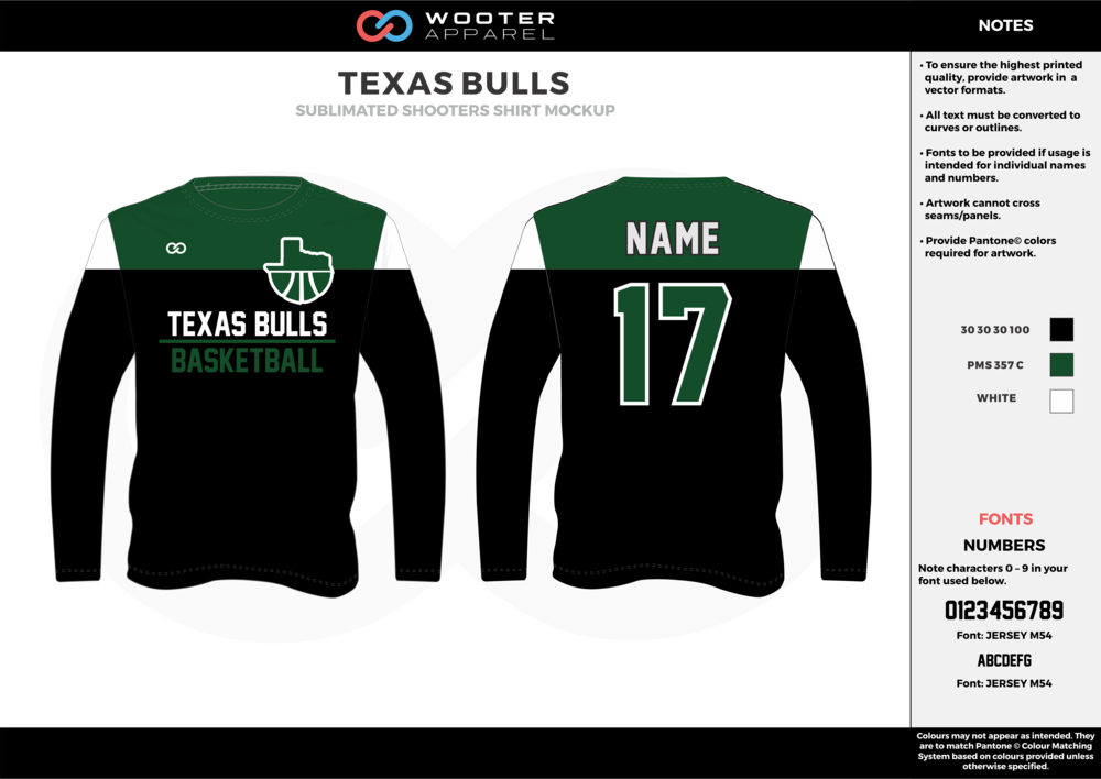 TEXAS BULLS black green white Basketball Long Sleeve Shooting Shirt