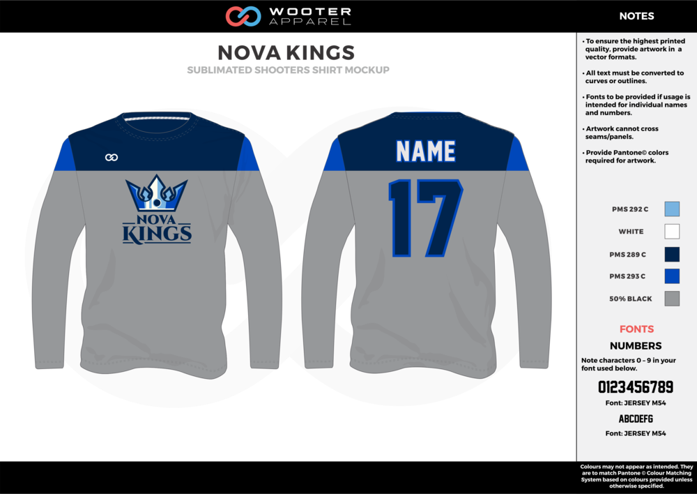 NOVA KINGS gray dark/sky blue white Basketball Long Sleeve Shooting Shirt