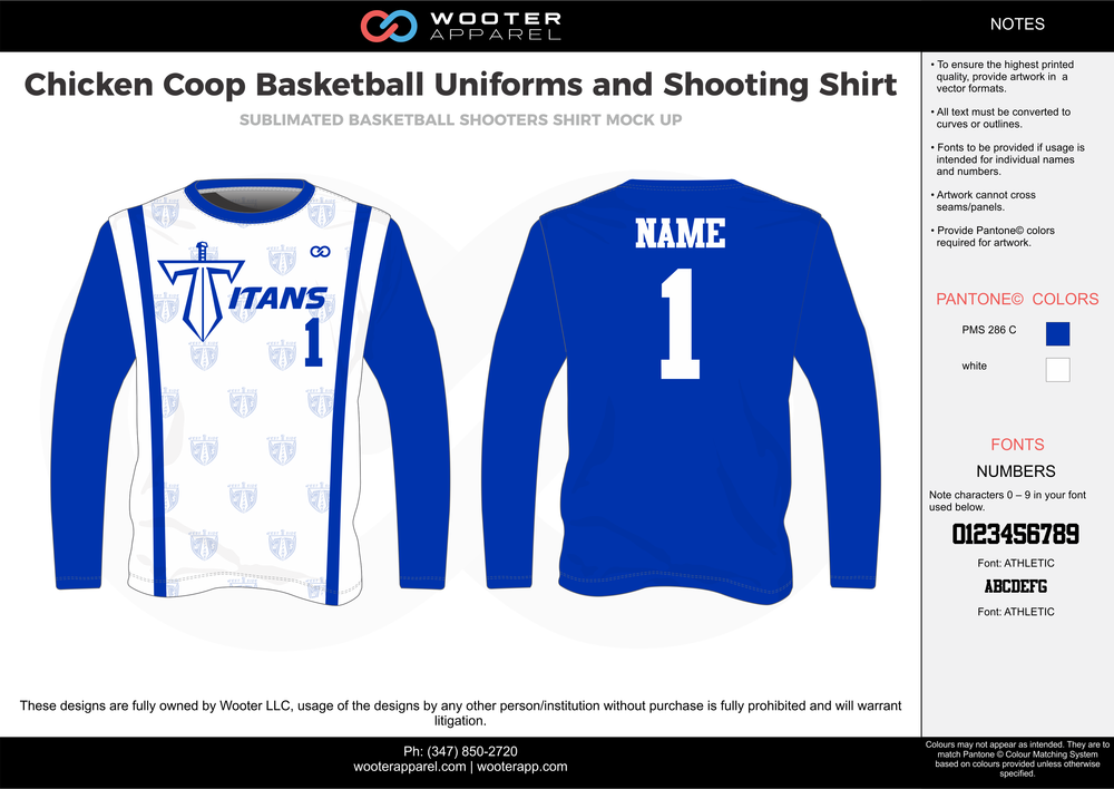 CHICKEN COOP blue white Basketball Long Sleeve Shooting Shirt