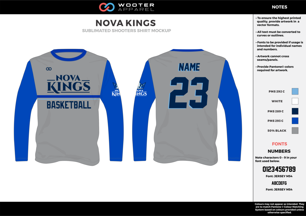 NOVA KINGS blue gray white Basketball Long Sleeve Shooting Shirt