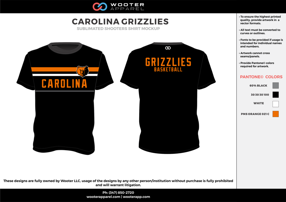 CAROLINA GRIZZLIES black gray orange white Basketball Short Sleeve Shooting Shirt