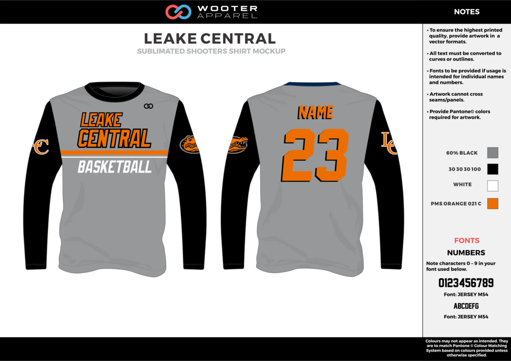 LEAKE CENTRAL gray black orange white Basketball Long Sleeve Shooting Shirt