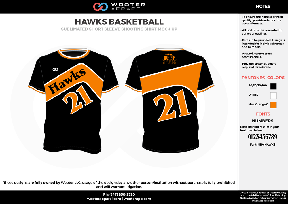 HAWKS BASKETBALL black orange white Basketball Short Sleeve Shooting Shirt