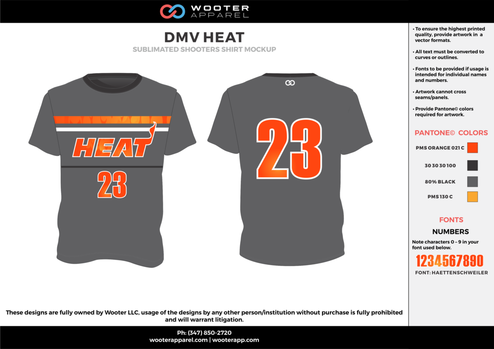 DMV HEAT orange black gray Basketball Short Sleeve Shooting Shirt