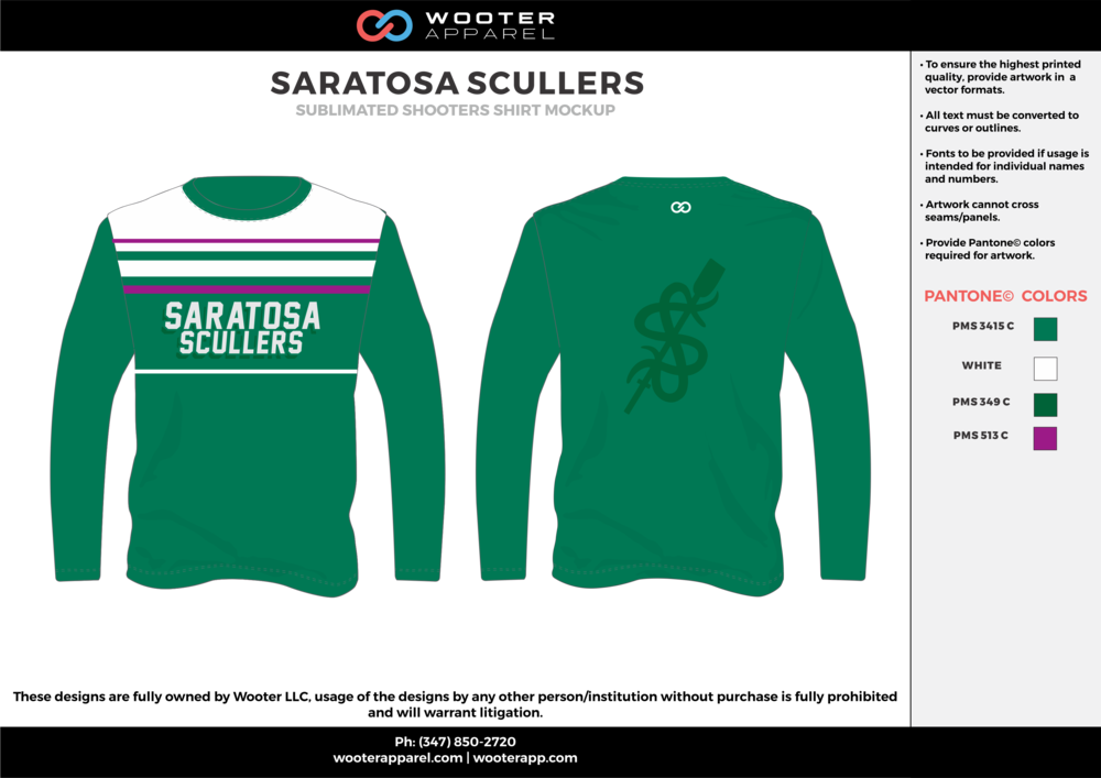 SARATOSA SCULLERS green white purple Basketball Long Sleeve Shooting Shirt