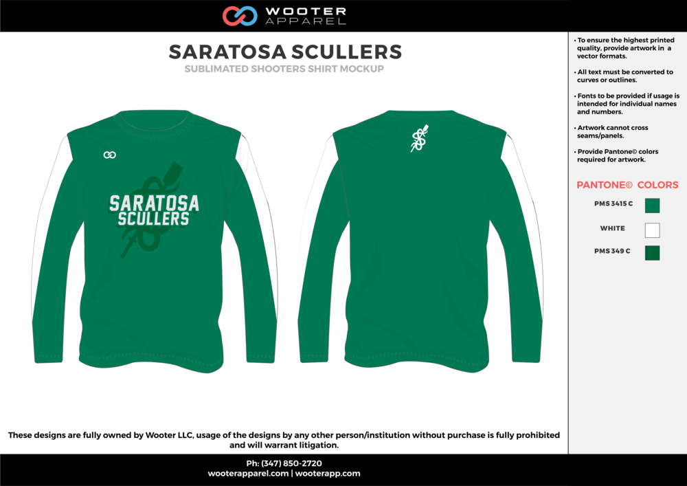 SARATOSA SCULLERS green white Basketball Long Sleeve Shooting Shirt