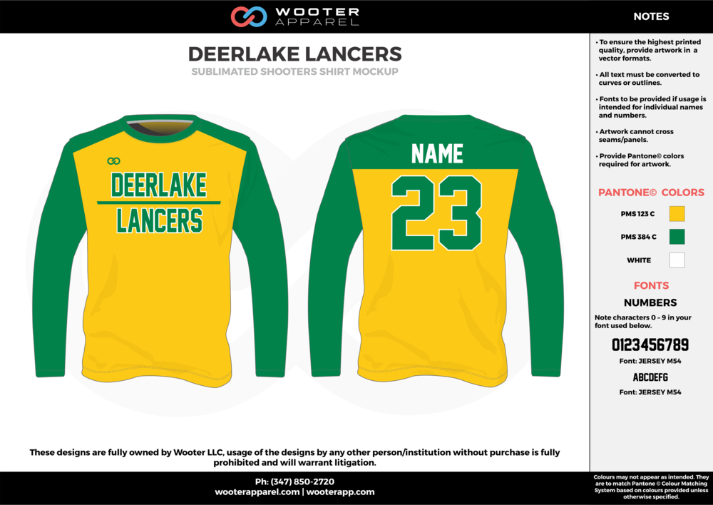 DEERLAKE LANCERS green yellow white Basketball Long Sleeve Shooting Shirt