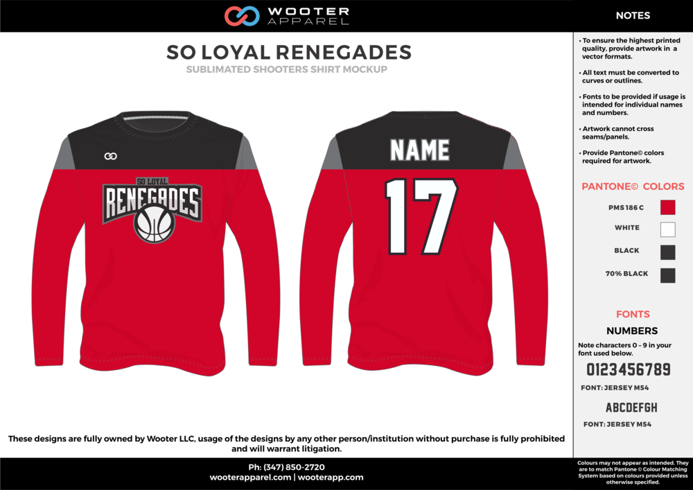 SO LOYAL RENEGADES red black white Basketball Long Sleeve Shooting Shirt