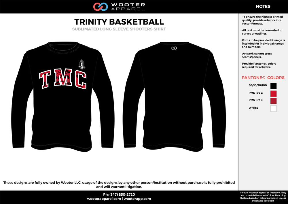 TRINITY BASKETBALL black red white Basketball Long Sleeve Shooting Shirt
