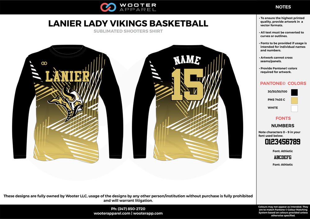 LANIER LADY VIKINGS BASKETBALL black gold white Basketball Long Sleeve Shooting Shirt