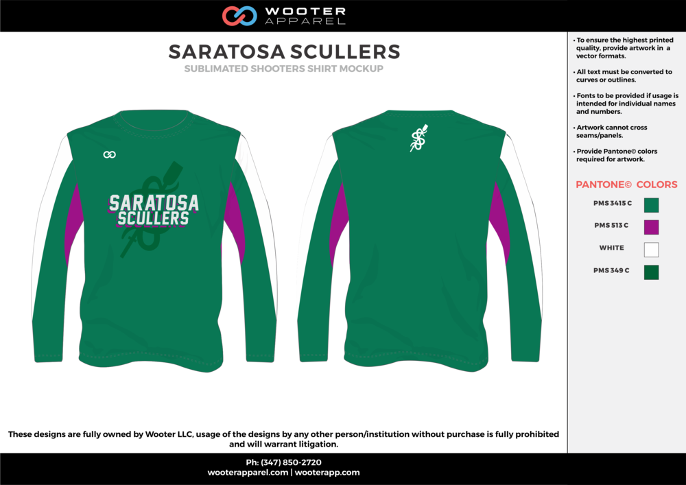 SARATOSA SCULLERS green pink white Basketball Long Sleeve Shooting Shirt