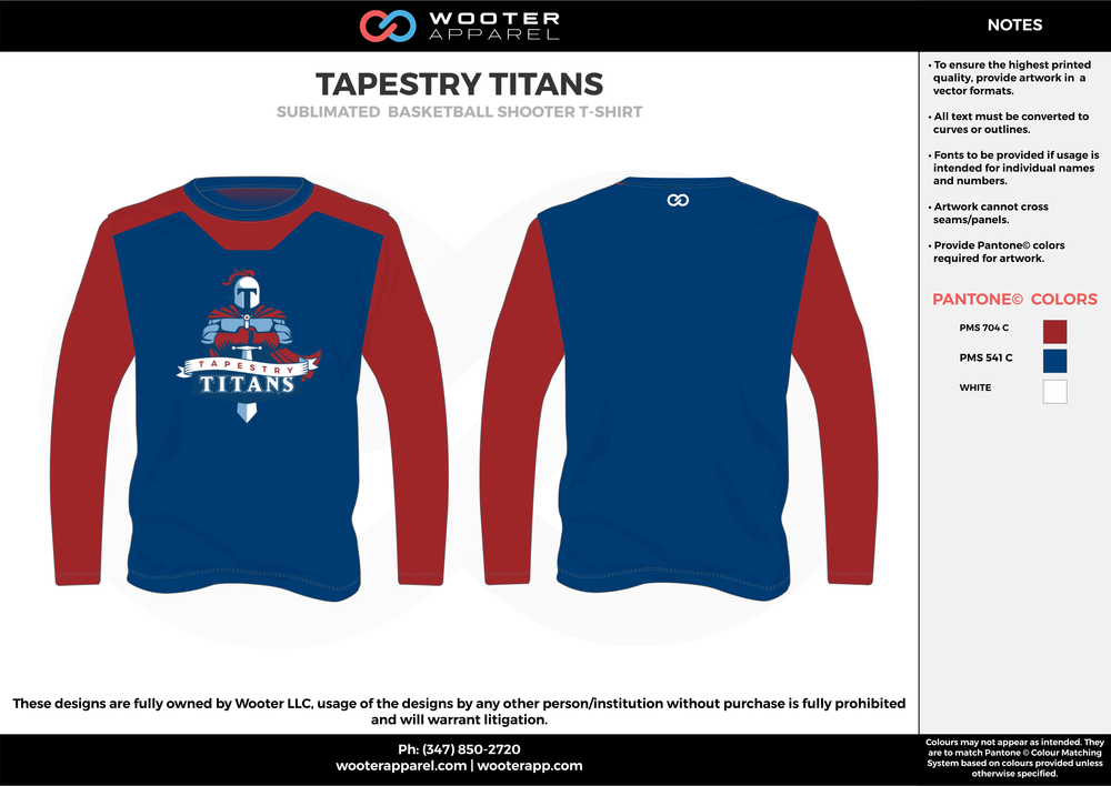 TAPESTRY TITANS blue red white Basketball Long Sleeve Shooting Shirt