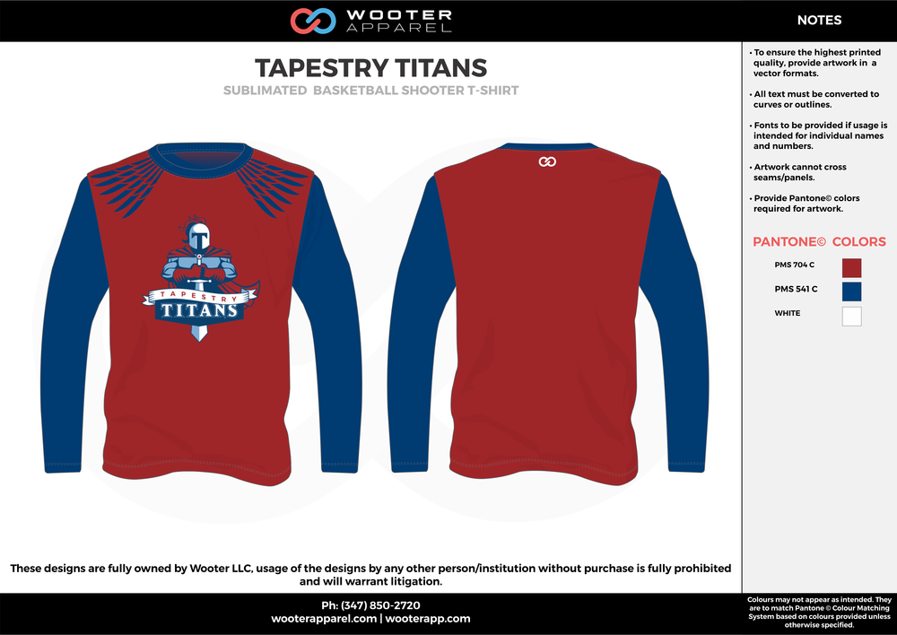 TAPESTRY TITANS red blue white Basketball Long Sleeve Shooting Shirt