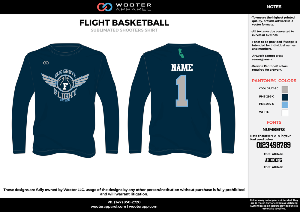 FLIGHT BASKETBALL gray blue white Basketball Long Sleeve Shooting Shirt